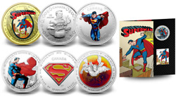 2013 Superman 75th Anniversary 7 Coins Complete Set W/ 75 14-kt. Gold Canadian