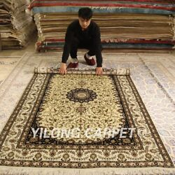 Yilong 5'x8' Antique Handmade Silk Rugs Bedroom Luxury Hand Knotted Carpet 179ab