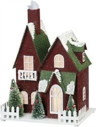Newlighted Christmas Snowy Red Housebottle Brush Bristle Trees Sittervintage
