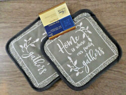 Home Collection Home is Where Our Family Themed Pot HoldersSet of 2 7x7 inches
