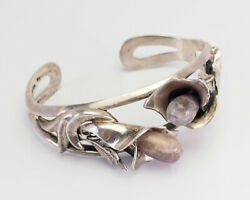 Vintage 950 Silver Amethyst Calla Lily Flower Cuff Bracelet Signed Mateo Mexico