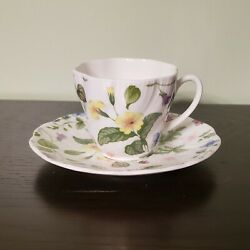 Rosina-queens Country Meadow England Floral China Small Flat Cup And Saucer Set