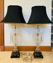 Vintage Pair Of Two 38 Tall Victorian Style Crystal Prisms Lusters Table Lamps