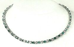 6489.00 Solid 14k White Gold Necklace Emeralds And Diamonds 15.5 In
