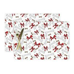 Cloth Placemats Dog Bones Bows White Red Christmas With Holidays Pet Set of 2