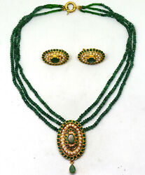 Vintage  India 21K Solid Gold Natural Emerald and Pearl Necklace Earrings Set