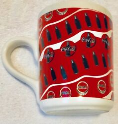 Coca-cola Mug Vintage 1997 White W/ Red Bottles And Caps Large Coffee Cup