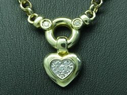 14kt 585 Yellow Necklace With Clipanhandaumlnger In Herform And 023ct Brilliant/44cm