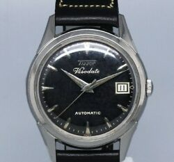 Tissot Viso Date Black Mirror Dial Automatic Winding Vintage Watch 1950and039s
