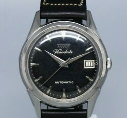 Tissot Viso Date Black Mirror Dial Automatic Winding Vintage Watch 1950's