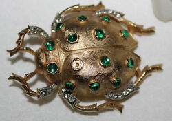 LARGE 2 14 CROWN TRIFARI SIGNED JEWELED BUG PIN RARE STYLE-NEEDS 1 GREEN STONE
