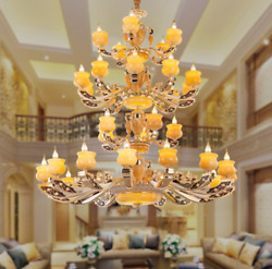 Modern LED Genuine Jade Zinc alloy Hall Chandelier Stair Candle Ceiling Light