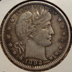 1892 Barber Quarter Super Sharp Extremely Fine+ Coin Great For Type 1208-56