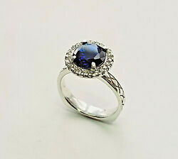 14 Kt White Gold Saphire Ring With Diamond Halo Size 7