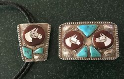 Vintage Mike Simplicio Zuni Sterling Belt Buckle And Matching Bolo Tie Turquoise