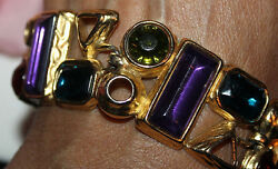 AMAZING 1 18 INCH TRIFARI TM SIGNED JEWELED BRACELET-RARE HARD TO FIND