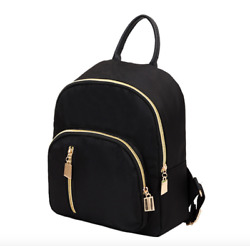 New Fashion Women Small Mini Backpack Travel Nylon Handbag Shoulder Bag Black $9.99