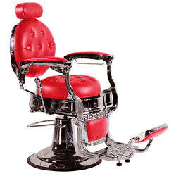 Professional High Quality Hydraulic Reclining Barber Chair Classic Vintage Red