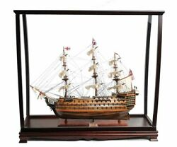 Hms Victory Nelsonand039s Tall Ship Wooden Scale Model 30 W/ Table Top Display Case