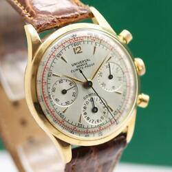 UNIVERSAL GENEVE CLIMATE PROOFCOMPAX 124113 18K ROSE GOLD CHRONO MENS WATCH