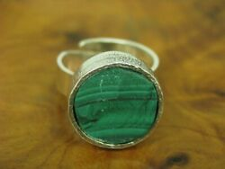 835 Silver Ring And Bangle With 95,0ct Malachite Decorations Jewelry Set / Real