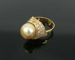 Vintage 0.35ct Diamond 12mm Golden South Seas Pearl 18k Yellow Gold Dome Ring