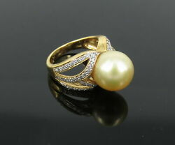 Vintage 0.75ct Diamond 12mm Golden South Sea Pearl 18k Yellow Gold Ring S-6.75