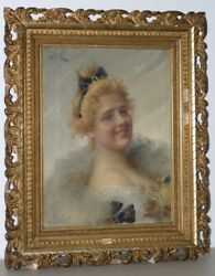 19th Century Oil Portrait Of Beautiful Young Lady By Adriano Goby