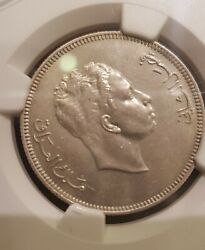 Iraq 100 Fils 1953 King Faisal Ii Silver With Ngc Au Details Certification Rare