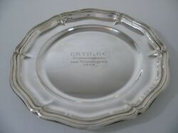 Wilhelm Binder 835 Silver Tray With Engraving/wall Plate / Real Silver/1558g