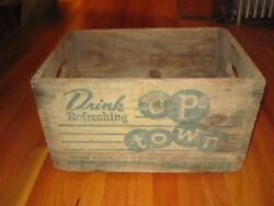 Wood Up-town Drink Up Town Beverage Co Springfield Mass Vintage Soda Crate
