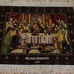 Yilong 2.5and039x3and039 The Last Supper Tapestry Jesus Hand Knotted Silk Carpet Rug Tj100