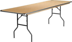 5 Pack 30and039and039 X 96and039and039 Rectangular Birchwood Folding Banquet Table W/ Metal Edge