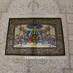Yilong 4and039x3and039 Handmade Silk Tapestry Last Supper Wall Handcraft Area Rug Z304a
