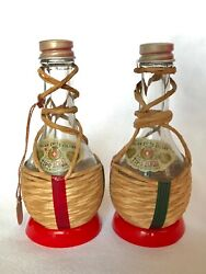Vintage Italian Swiss Colony Tipo Wine Bottle Salt And Pepper Shakers 4 1/2