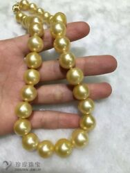 huge 12-15mmAAA round south sea gold pearl necklace 18inch 14k