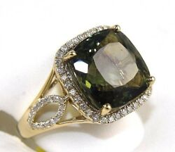 Cushion Green Tourmaline And Diamond Solitaire Square Ring 14k Yellow Gold 9.09ct
