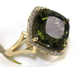 Cushion Green Tourmaline And Diamond Solitaire Square Ring 14k Yellow Gold 10.31ct