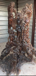 ANTIQUE CHINESE WOOD CARVING STATUE Agarwood BUDDHA GUANYIN TREE TRUNK HUGE