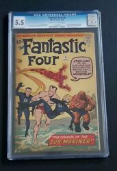 FANTASTIC FOUR #4 • 1ST SUB-MARINER • REALLY NICE CGC 5.5 • BLACK PANTHER 2?