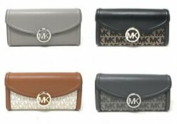 Michael Kors Fulton Flap Large Continental Leather Wallet MK Signature Leather  $54.97