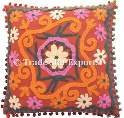 16x16 Vintage Suzani Cushion Cover 5 Pcs Indian Cotton Embroidered Pillow Cover