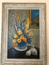 Antique/vintage 1945 Floral Still Life Oil Painting Signed By Hydia Russell