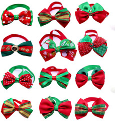 Christmas Style Dog Cat Bow Ties Adjustable Bowties Pet Puppy Collars Accessory