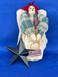 My Heart Belongs To Andy Antique Primitive Raggedy Ann Doll And Barn Star ❤️sj17j