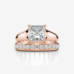 DIAMOND MATCHING BAND SET RING 14K ROSE GOLD RED SOLITAIRE ACCENTED 1 3/4 CARATS