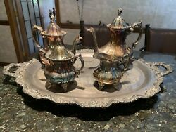 E.p.o.a. Lancaster Silver By Pool Coffee Tea 5 Piece Set Looks Great - Vintage