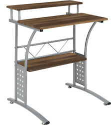 Computer Desk Or Lap Top Desk With Walnut Laminated Top And Lower Storage Shelves