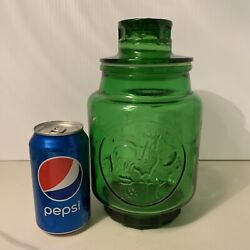 Vintage Wheaton Nj Glass Canister/cookie Jar. Rooster/sun. 9 1/4