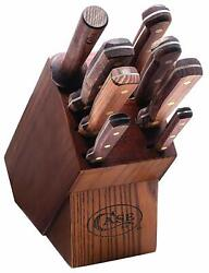 Case Knife Household Cutlery Solid Walnut Handles 9 Piece Block Set 10249